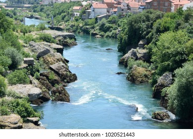 Landscape view down the Neretva River in Mostar, Bosnia and Herzegovina