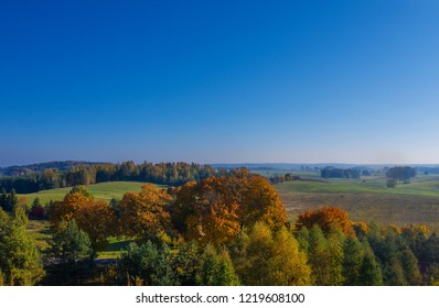 Landscape view from drone in autumn