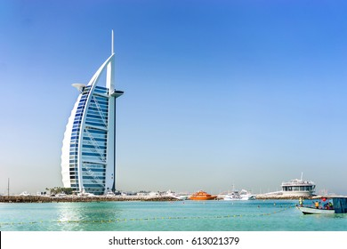 A landscape view of Dubai sea and the famous Burj Al Arab building. Dubai, UAE-Circa March 2017.  The luxury hotel is built on artificial island and is the fourth tallest hotel in the world.