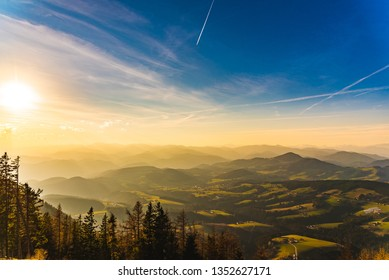 Landscape view during sunset in spring from Graz Schockl mountain in Styria, Austria. Famous tourist destination ,hiking and mountain biking spot.