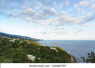 Landscape view at dusk from the observation deck to the resort village of Alupka in the Crimea. Yalta