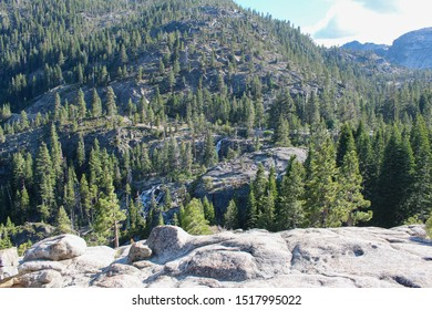 Landscape view of the Eagle falls and the mountains behind, Tahoe, California