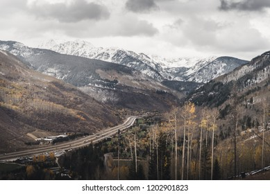 Landscape view of East Vail with the Gore Range in the background after an autumn snow storm.