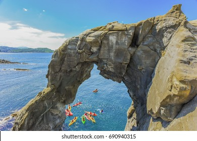 Landscape View of Elephant Trunk Rock, A Famous Destination for Canoeing Activity, At the North Coast of Taiwan, Shenao, New Taipei, Taiwan