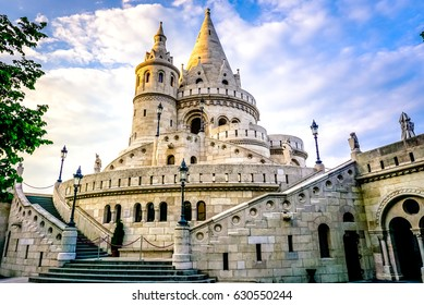 A landscape view of the fisherman's bastion in summer time. a popular attraction in Budapest, Hungary.