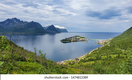 Landscape view of fishing village Husoy in Troms county, island of Senja, Norway.