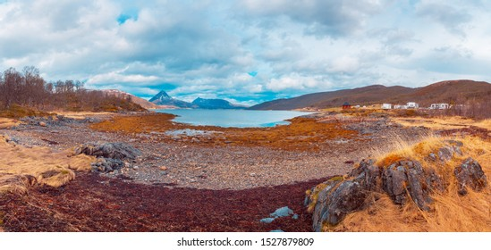 The landscape view of Fjordbotn on Senja Island beyond the Polar Circle in Norway