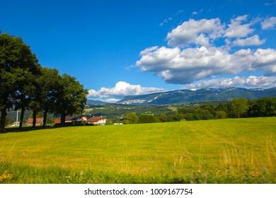 Landscape view fron Savoy region, France