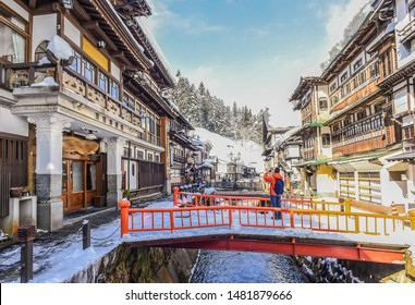 Landscape View Of Ginzan Onsen, One Of The Most Famous Hot Springs Old Town in The Snow, Obanazawa, Yamagata , Japan