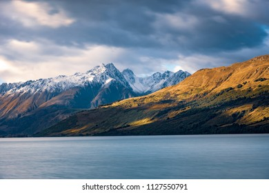 Landscape view of Glenorchy wharf, lake and moutains, South island of New Zealand