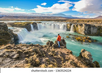 Landscape View Of Godafoss Waterfall Under Clear Blue Sky On Skjalfandafljot River, Northern Region of Iceland