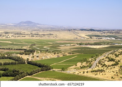 Landscape view of the golan heights from mount Bental. Border between Israel and Syria. North of Israel