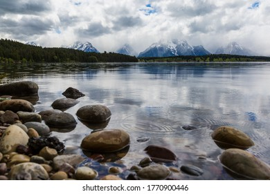 Landscape view of Grand Teton National Park after a thunderstorm (Wyoming)