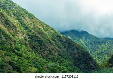 Landscape view of green forest and high mountain with cloud sky at Taroko gorge national park, Hualien Taiwan