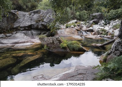 Landscape view of green pond and waterfall, surrounded by stones and vegetation, in the forest of Geres National Park