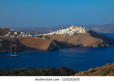 Landscape view of the gulf in Chora village in Astypalaia island, Greece