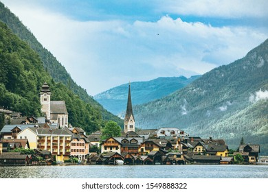 landscape view of hallstatt city in austrian alps