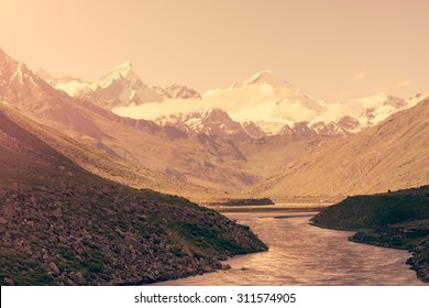 landscape view with Himalaya mountains covered with snow and blue sky in Jammu & Kashmir, India,