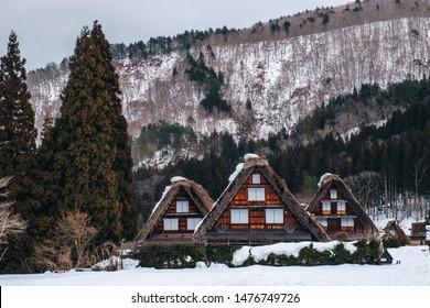 Landscape View of The Historic Villages of Shirakawa-go and Gokayama( Gassho Zukuri Folk Village) in the winter season, Shirakawa, Japan