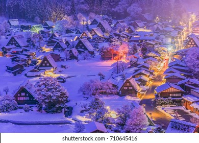 Landscape View of The Historic Villages of Shirakawa-go and Gokayama( Gassho Zukuri Folk Village) at Winter Snow Twilight, Shirakawa,  Japan