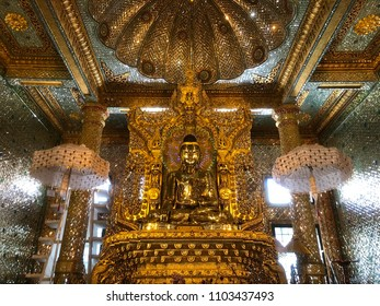 Landscape view of the the holy Sandamuni Buddha image, a golden Buddha statue located in the Sandamuni Phaya Gyi Kyaung Kyaik, in the town of Mrauk U in Rakhine (Arakan) State, western Myanmar (Burma)