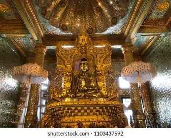 Landscape view of the holy Sandamuni Buddha image, a golden Buddha statue located in the Sandamuni Phaya Gyi Kyaung Kyaik, in the town of Mrauk U in Rakhine (Arakan) State, western Myanmar (Burma)