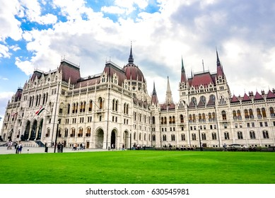 A landscape view of the Hungarian paliament building in summer. Budapest, Hungary.