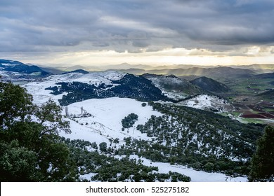 landscape view from Ifrane, Morocco, over snowy mountains