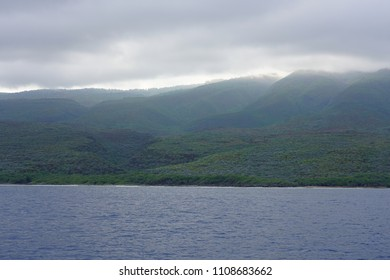 Landscape view of the island of Lanai in Hawaii seen from the water