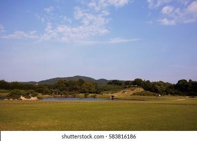 Landscape view of japanese garden in Okayama, Japan