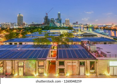 Landscape View Of Kaohsiung Harbor and The City With Solar Power Panels On The Roof of Warehouse, Pier 2 Art Center, Kaohsiung, Taiwan