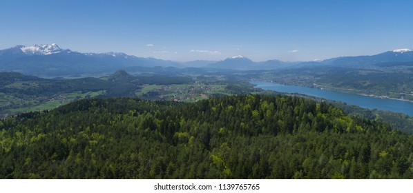 landscape view to karawanks mountains from pyramidenkogel with woerthersee