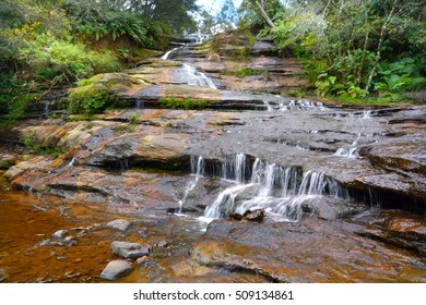 Landscape view of Katoomba Cascades near Katoomba on the Kedumba River descending into the Jamison Valley located within the Blue Mountains National Park of New South Wales, Australia.