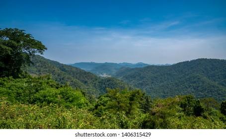 Landscape view from Khao Yai National Park overlooking Khao Wangh Hin district