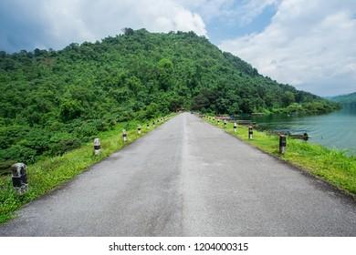 Landscape view from Khun Dan Prakarn Chon Dam in Nakhon Nayok province Thailand
