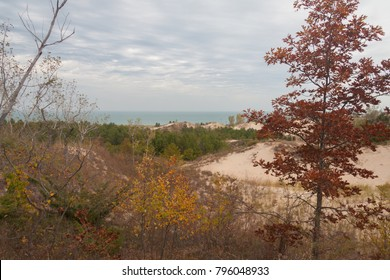 Landscape view of Lake Michigan over dunes in the autumn.