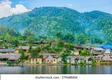 Landscape view of landmark of Rak Thai Village in Mae Hong Son province, Northern Thailand. Local people are Chinese Yunnan.