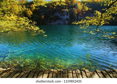 Landscape view of leaves and lake in autumn season at plitvice Jezera National Park in Croatia.