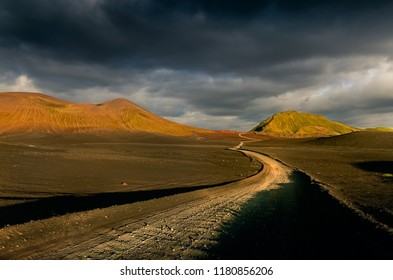 Landscape view of Lndmannalaugar volcanic mountains and the road, Iceland, Europe