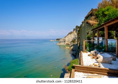 Landscape view of Logas sunset beach, Peroulades, Corfu, Greece