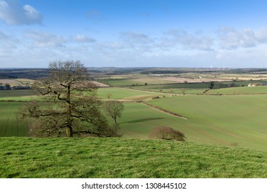 Landscape view looking across the county of Nottinghamshire in the East Midlands of England,UK.