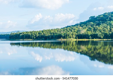 Landscape view of Mae Tam reservoir, Thailand.
