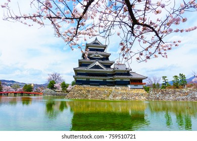 landscape view of Matsumoto Castle and red wooden bridge with sakura blooming against blue sky and cloud. this castle symbol of japan ancient feudal historic culture in Nagano,Japan.