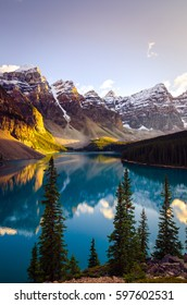 Landscape view of Moraine lake and mountain range, Alberta, Canada