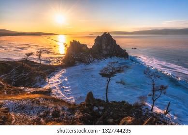 Landscape view of the mountain Shamanka cape in sunset sky, Burkhan island Olkhon at Baikal lake, Russia