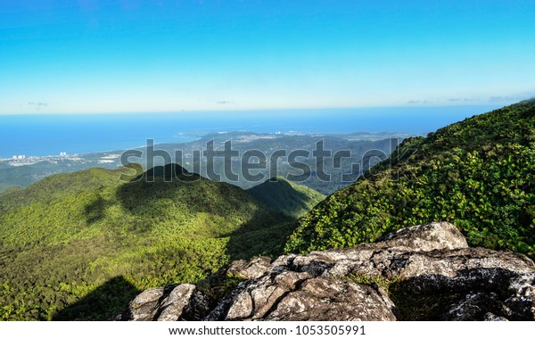 Landscape View Mountains Coast Ocean Yunque Stock Photo Edit Now 1053505991
