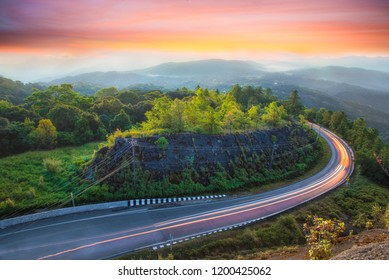 Landscape view of mountains and mist at sunrise time at Doi Inthanon National Park, High mountain in Chiang Mai Province, Thailand