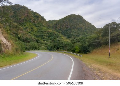 Landscape view at mountains from Pan American Highway in Nicaragua