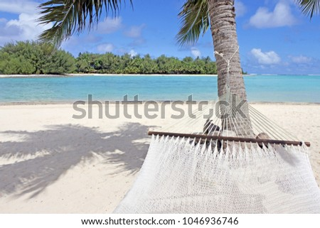 Landscape view of Muri Lagoon from a hammock point of view Rarotonga, Cook Islands. Copy spcae