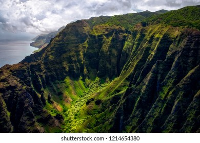 Landscape view of Na Pali coastline cliffs in dramatic style, Kauai, Hawaii, USA